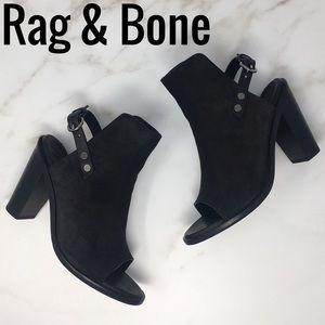 Rag & Bone Wyatt Black Suede Sandals Booties 38